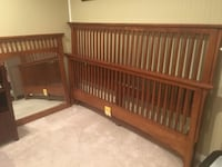 Mission-style king size head board, bed frame and foot board. Never used. Cash only.  Alexandria, 22310