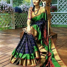 women's green, blue, and black saree
