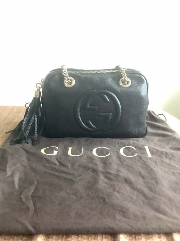 47167a8658b708 Authentic Gucci Soho Leather Double-Chain-Strap Shoulder Bag in Black