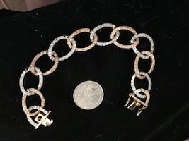 Rose and white gold/925 open link bracelet
