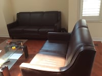 Black faux leather 3-seat sofa and 2 seat sofa. 9/10. As is condition. Richmond Hill, L4C 0E5