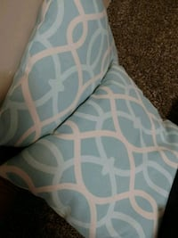 two teal-and-gray throw pillows Omaha, 68134