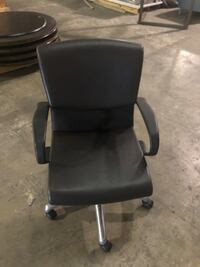 black leather padded rolling armchair Frederick, 21704