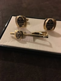Gold cufflinks and matching tie clasp commemorating Guam.  Garden Grove, 92843