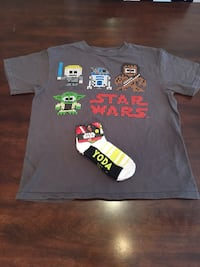 Kids Star Wars Tee Shirt With LEGO Type Graphics and NEW Yoda Socks Louisville, 40220
