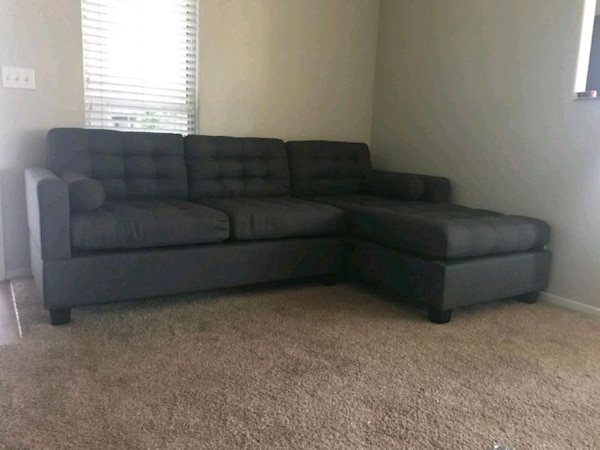 2PC Slate Black Reversible Chaise Sectional