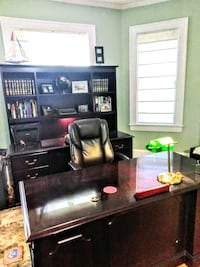 Desk with chair and shelf and credenza Frederick