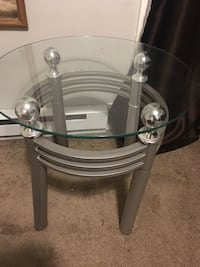 round glass top table with gray metal base Arlington, 22202