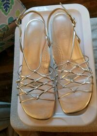 pair of silver leather sandals Selma, 93662