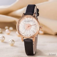round gold-colored analog watch with black leather strap College Park, 20740