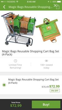 Magic bags reusable shopping cart bag set screenshot