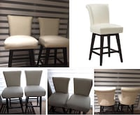 four brown wooden framed white padded chairs Laval, H7W 1S3