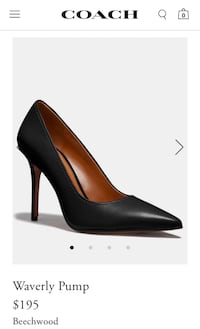 Coach Waverly Black Leather Pointed Toe High Heel Pump Size 8.5B.  Rockville, 20850