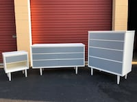 Mid Century Modern MCM Solid Wood Bedroom Set White With Gray Drawers  Woodbridge, 22192