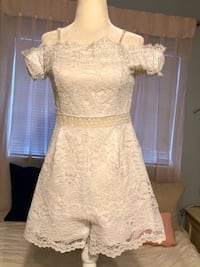 White Lace Shorts Romper - Size Small Coral Springs, 33065