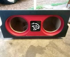 red and black car subwoofer box for 12s
