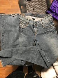 two gray and black denim jeans Edmonton, T5P
