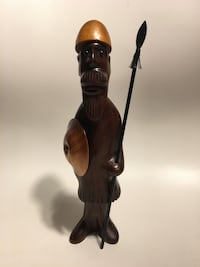 Rosewood/ Ironwood Viking  holding spear and shield figurine
