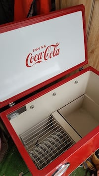 red and white Coca-Cola print chest freezer