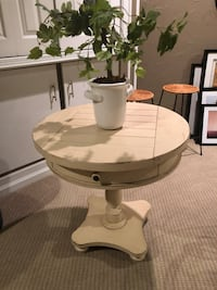 27H , 28 round cream color wood side table Middletown, 19709