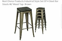 five gray steel bar stools