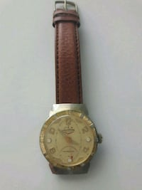 round gold-colored analog watch with brown leather San Antonio, 78210