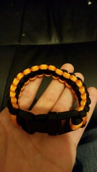 black and orange paracord bracelet