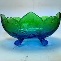 """Vintage  Blue & Green Footed Dish Jeannette 10"""" L x 5 1/2"""" D Norman, 73071"""