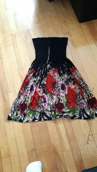 black and red floral strapless mini dress 1310 km
