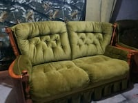 brown wooden framed beige padded couch Calgary, T1Y 4Y8