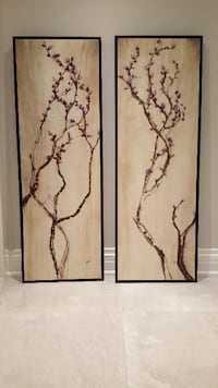 Framed Canvas Purple Cherry Blossom Art