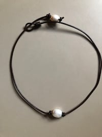 "16"" adjustable brown leather/faux pearl necklace"