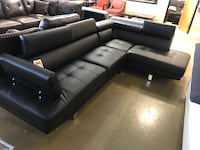Black Bonded Leather Sectional With Adjustable Neck Rest  Phoenix, 85018