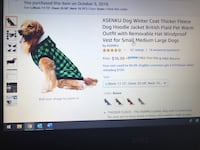 Flannel Dog Jacket- Brand New (Large size but really more a medium) Portland, 97203