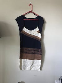 Navy brown and gold fitted dress  Alexandria
