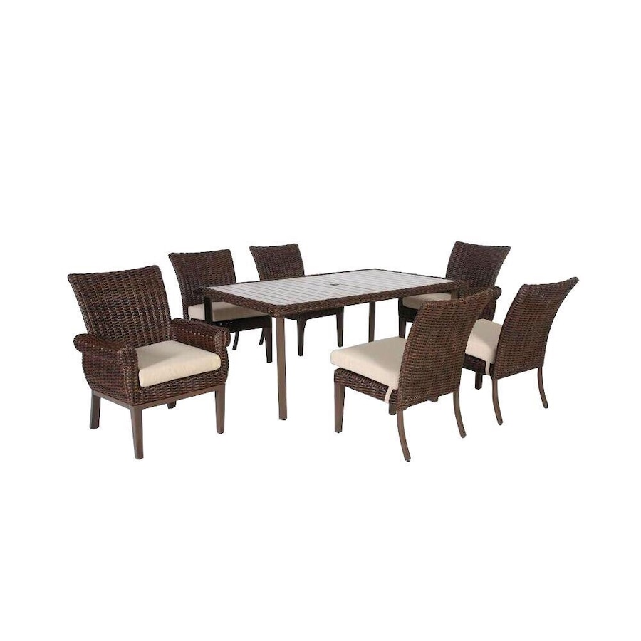 Used Hampton Bay Mill Valley 7-Piece Fully Woven Patio Dining Set ...