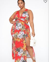 BRAND NEW RED FLORAL THIGH SLIT MAXI DRESS