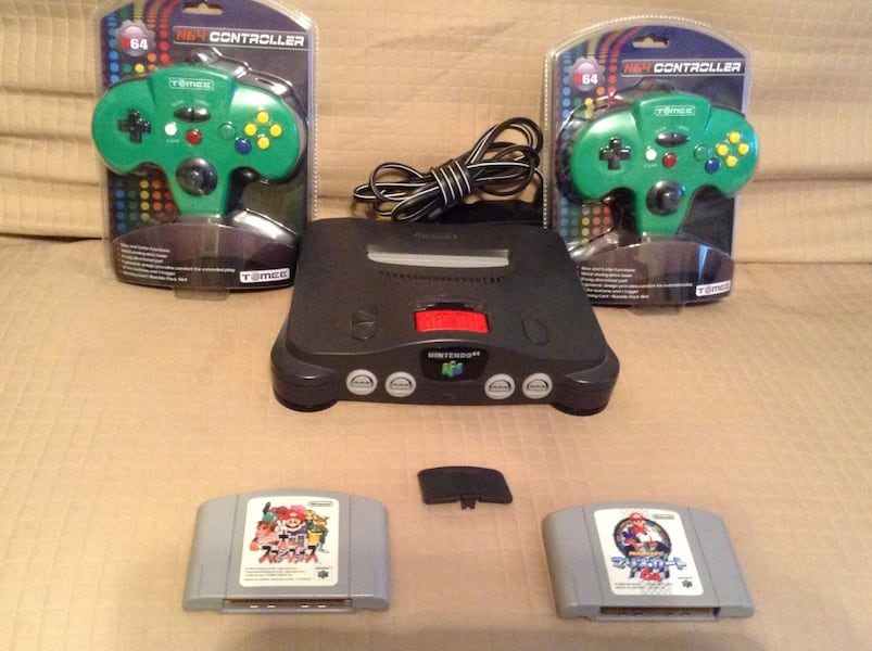 Used Black Nintendo 64 Console 2 New Tomee Controllers W Mario
