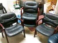 4 solid wood leather chairs  Abbotsford, V4X 2S5
