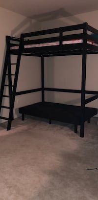 Black wooden bunk bed frame and mattress full/double Triangle, 22172