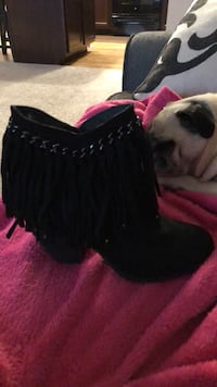 Black fring boots  Clover, 29710