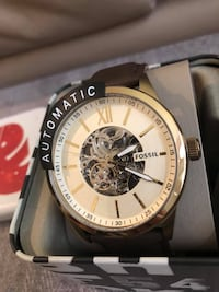 Fossil Men's Automatic Skeleton Gold-Tone Brown Leather Watch  Markham, L3P
