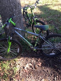 toddler's green and grey Huffy bike
