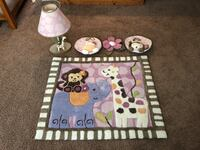 Baby rug, lamp, and wall decorations 67 mi