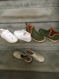 Three pairs of assorted shoes size fits 8to 9 Burlington
