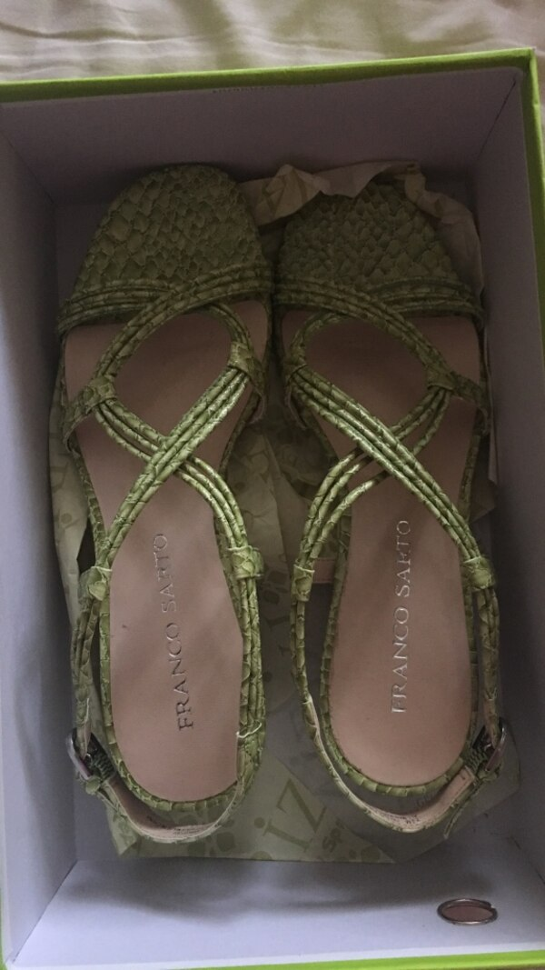 Brown-and-green franco safto strappy close-toe sandals with box