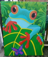 Stretched canvas frog painting Washington, 20011