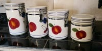 white and red ceramic canisters San Antonio, 78221
