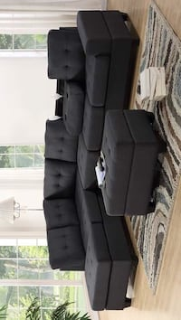 Heights Charcoal Gray Reversible Sectional with Storage Ottoman Houston, 77036