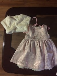 toddler's pink and white floral sleeveless dress and white fur blazer Windsor, N9A 5E7